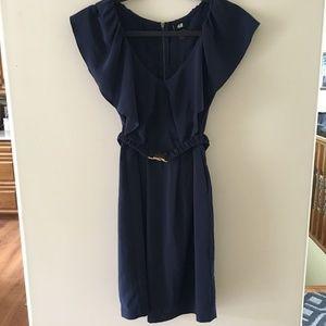 H & M  Navy dress  Sz 6 Elastic belt sleeveless